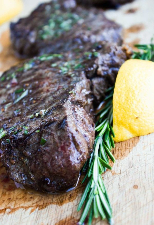 Grilled Steak with Rosemary Lemon Butter--Skip the trip to the steakhouse--this will beat your favorite steak!