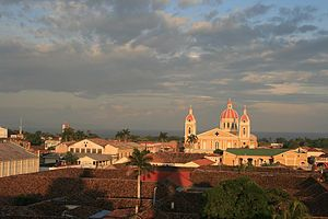 The Cathedral of Granada, as seen from La Merced Church, in Nicaragua.