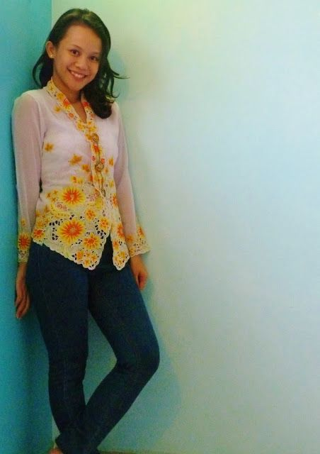 Kebaya top matched with jeans