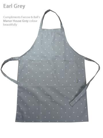 Adult Apron. Handmade in Harris & Home Polka Heart Fabric. Earl Grey Soft Taupe Olive Green/French Grey Fabric