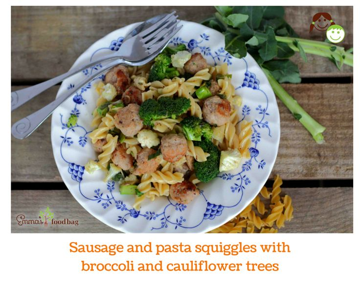 Sausage and pasta squiggles with broccoli and cauliflower trees