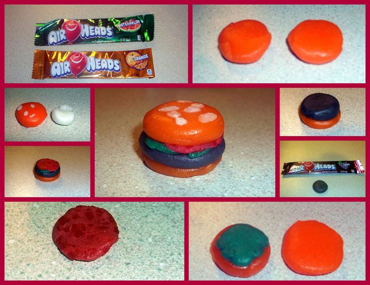 #AirheadsCrafts experience Using my FREE airheads we first used an orange airhead to shape into the top and bottom bun. Using a purple airhead, we created the meat, a green airhead to shape the lettuce, a red airhead for the tomato. Once assembled, we added the seeds to the bun using a white airhead. See more airheads inspiration: http://landing.smiley360.com/airheadscrafts/index.htm