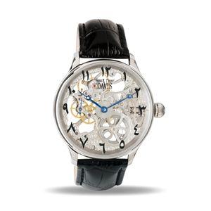 Montre Squelette Homme Mecanique Acier Bracelet Cuir Noir Davis 0890Eastern
