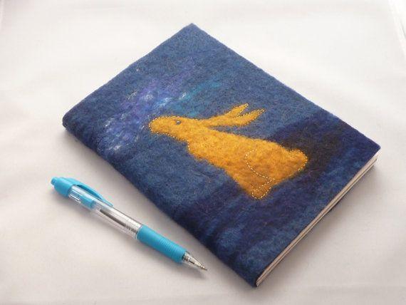 A5 Hare Notebook Journal  hand felted by Deborah Iden.  See more by LittleDeb at www.facebook.com/LittleDebFelts