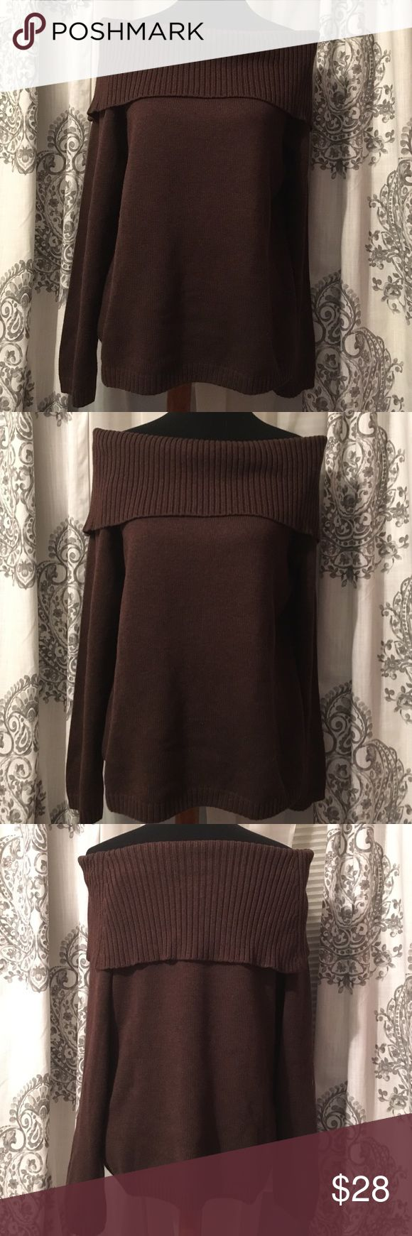 Willi Smith XL Brown Sweater NWOT Never worn, perfect condition. Dark Brown Wili Smith off the shoulder sweater. Heavy weight and very comfortable. XL. 90% Cotton 10% Nylon Willi Smith Sweaters