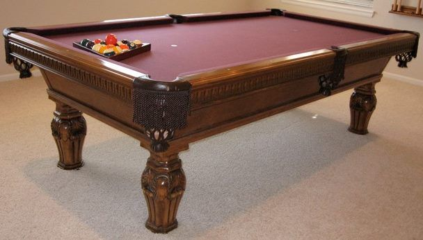 Unusual Pool Table Built By Golden West Billiards The Customer Supplied Us A Drawing Of The Leg And We Manufactured It I Billiards Billiard Tables Pool Table