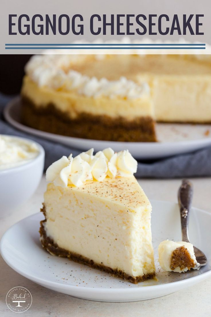Divine eggnog cheesecake on top of a gingersnap crust and topped with eggnog whipped cream. This is something every eggnog lover must try! #eggnog #cheesecake #christmas #holiday #baking #dessert