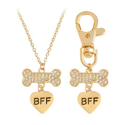 "Heart ""BFF"" with Rinestone Dog Bone Couple Necklace"