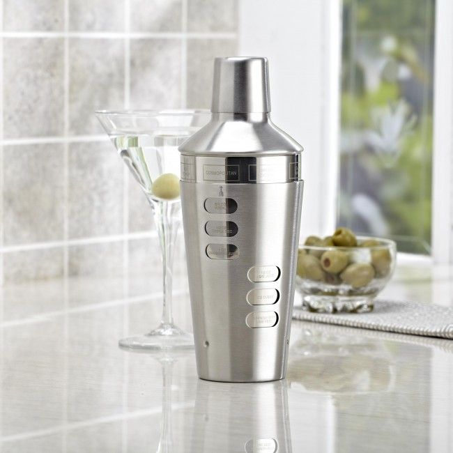 Shake things up at your next soiree with a sleek and stylish stainless steel cocktail shaker. Not sure what drink to make with it? Not a problem - a recipe is etched on for easy reference!