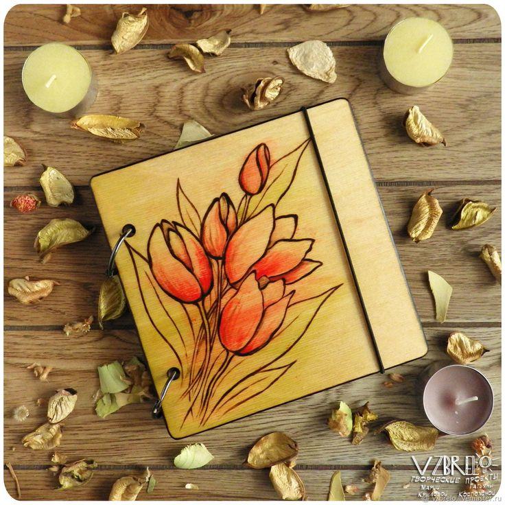 """Деревянный блокнот """"Тюльпаны"""" – купить в интернет-магазине на Ярмарке Мастеров с доставкой"""