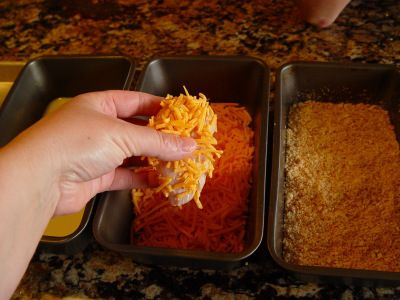 Crispy Cheddar Chicken Time: 15 minute prep + 35 minutes baking Yield: 7 servings Chicken: 4 large chicken breasts 2 sleeves Ritz crackers –I used Townhouse Crackers instead (2 sleeves) 1/4 …