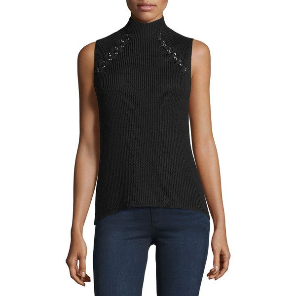 Ramy Brook Lisette Merino Wool Ribbed Chain-Embellished Sweater ($103) ❤ liked on Polyvore featuring tops, sweaters, black, ribbed mock turtleneck, mock turtle neck sweater, ribbed turtleneck sweaters, mock turtleneck sweater and sleeveless sweater
