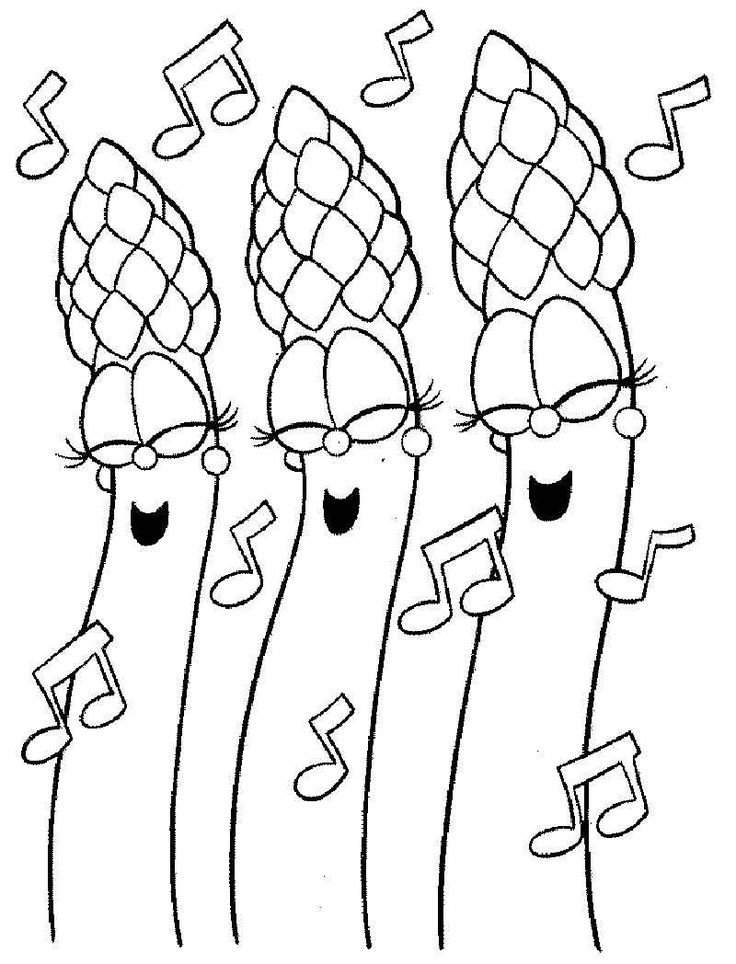 Singing Asparagus Vegetable Coloring Pages Coloring Pages