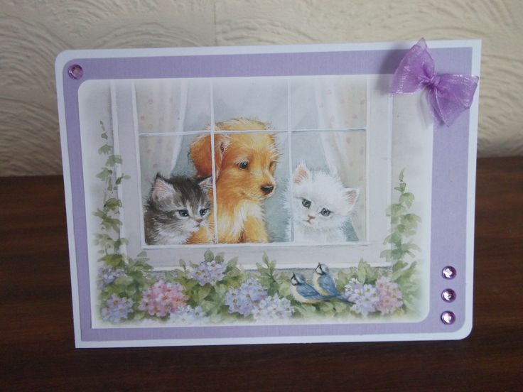 Little book of springtime, Hunkydory. Puppy and kittens at the window.
