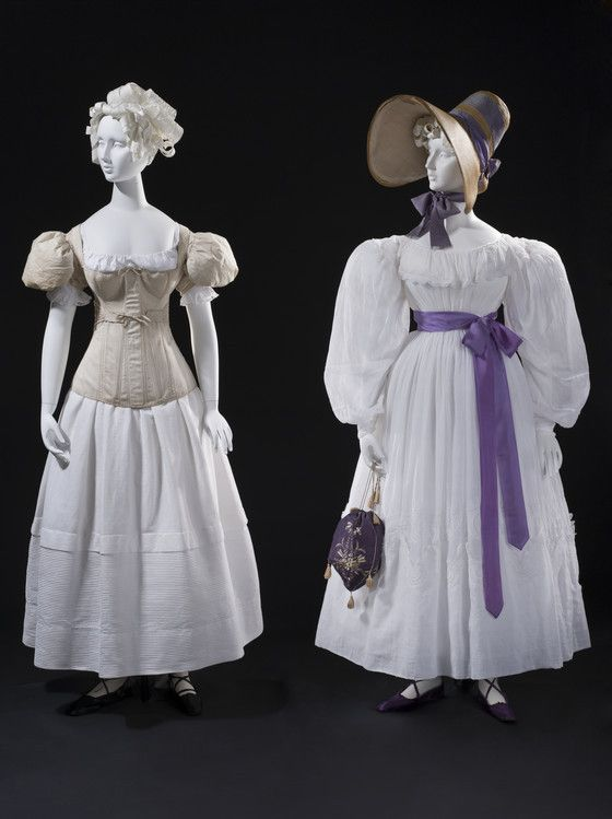 Full outfit, Europe. To the right, a cotton plain weave (muslin) dress with cutwork and cotton embroidery. To the left, a cotton chemise, corset, sleeve plumpers, and a corded petticoat. [Source: LACMA] #1830s #historicalfashion