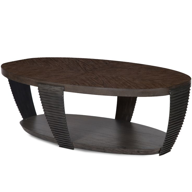 Magnussen Home Furnishings Kendrick Contemporary Chocolate and Aged Pewter Oval Coffee Table