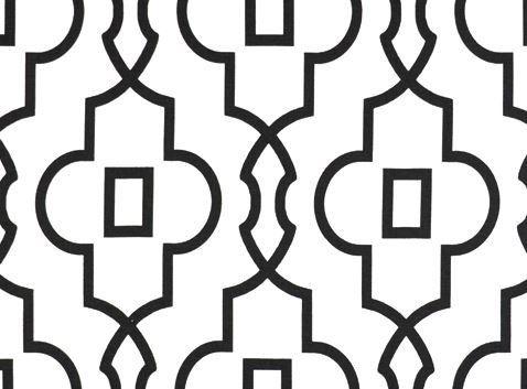 Lattice Black and White Fabric Quatrefoil Black Trellis