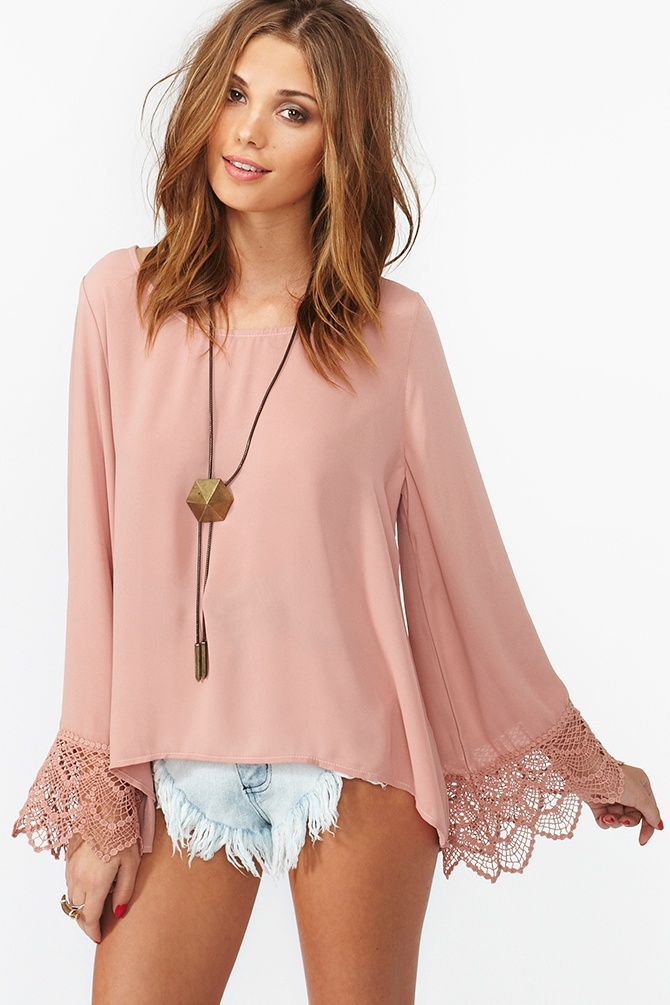Pale pink chiffon blouse featuring crochet detailing on the sleeves.