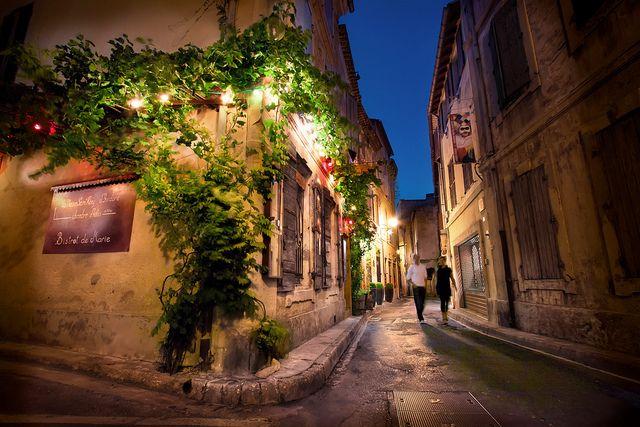 France, Saint Remy de Provence, Night Street Scene by WanderingtheWorld (www.LostManProject.com), via Flickr