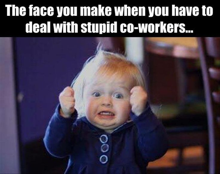 The face you make when you have to deal with stupid coworkers.