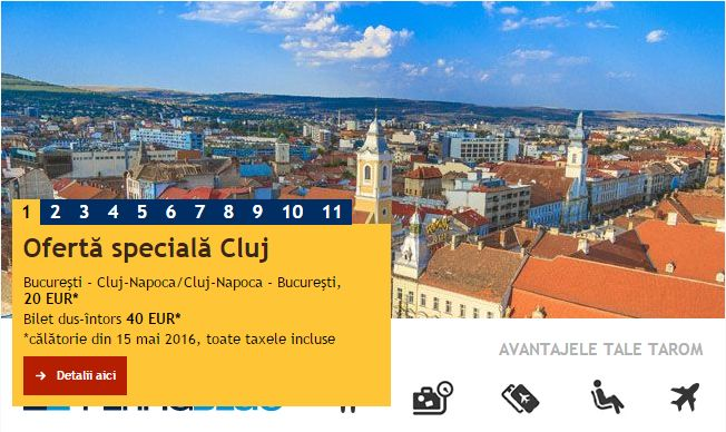 [Oferta TAROM] Bucureşti – Cluj de la 40 EURO (dus-întors)
