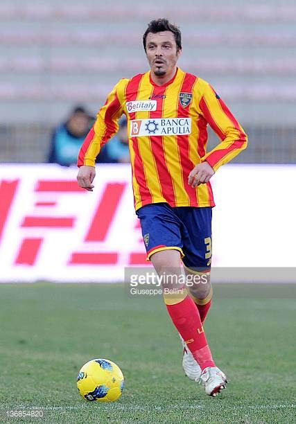 Massimo Oddo of Lecce in action during the Serie A match between US Lecce and Juventus FC at Stadio Via del Mare on January 8 2012 in Lecce Italy