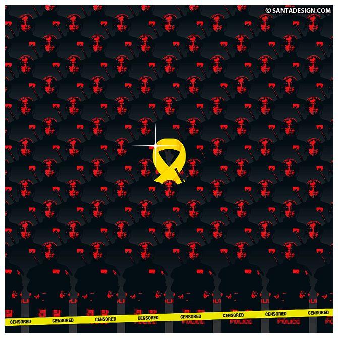 가려. 지지 않아. 감춰. 지지 않아. 막아. 지지 않아. 덮어. 지지 않아. 잊어. 지지 않아. #세월호 #노란리본 #YellowRibbon #Censored   노란리본, 1년의 작업들: http://santadesign.com/blog/yellowribbon