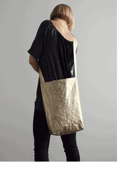 Maybebags London gold shoulder bag made from Tyvek