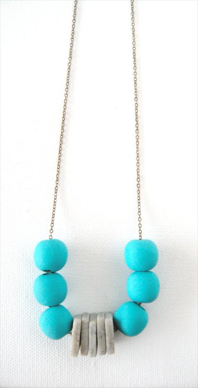 Aqua Blue and Gray Beaded Polymer Clay Necklace by AQuietCuriosity, $32.00
