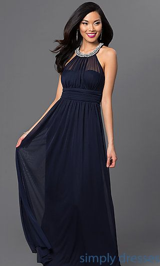 Long Midnight Blue Gown with Embellished Neckline