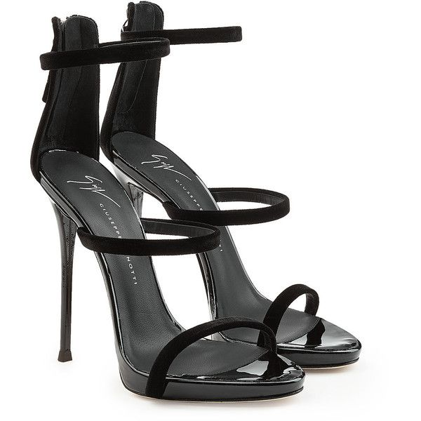 Giuseppe Zanotti Leather Stiletto Sandals (3471000 PYG) ❤ liked on Polyvore featuring shoes, sandals, heels, zanotti, black, black sandals, black evening shoes, heels stilettos, black shoes and black leather sandals
