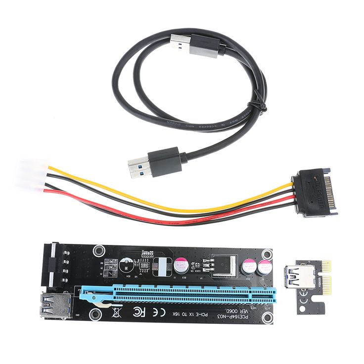 PCIe PCI-E Riser Card 1X to 16X USB 3.0 Cable Extender Graphic Card Adapter SATA 15Pin to 4Pin Power Cable for BTC Miner Machine  EUR 4.00  Meer informatie  http://ift.tt/2vIdjdD #aliexpress
