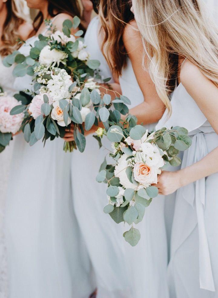 Light Blue Bridesmaids Bridesmaid Separates Eucalyptus Wedding