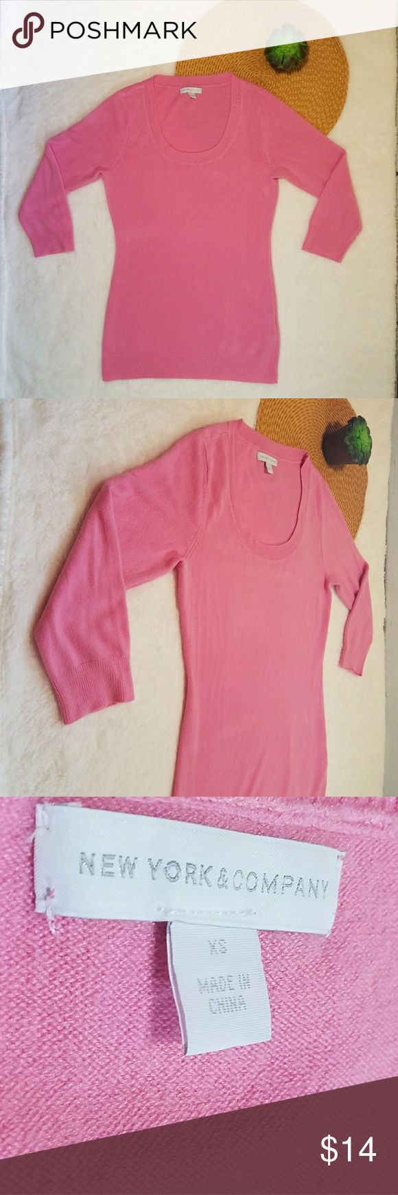 New York and Company Pink Long Sleeve Top Sz XS New York and Company Pink Long Sleeve Top Sz XS New York & Company Tops Tees - Long Sleeve