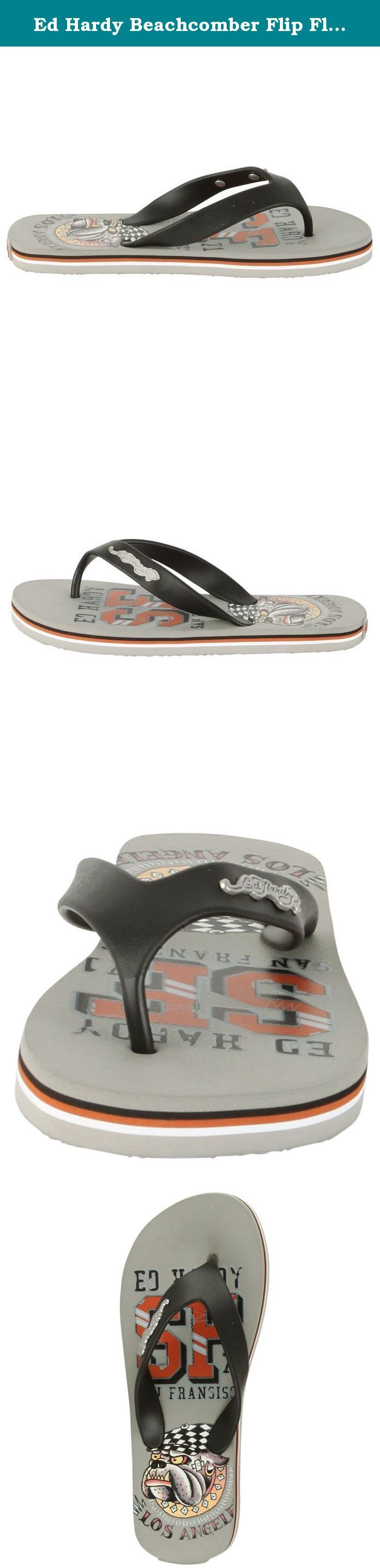 Ed Hardy Beachcomber Flip Flop Kids Sandal - Grey - 3. The Ed Hardy Flip Flop Kids BeachcomberSandal is a popular beach sandal and is part of the Ed Hardy Shoe Collection. Trendy and comfortable flip flops with authentic Ed Hardy Tattoo images. Lightweight rubber upper in a casual three point thong sandal style with a round toe and rolled rubber toe thong post. A brushed metal tattoo graphics button and embossed Ed Hardy logo adorn the matching rubber vamp straps flexible midsole and...