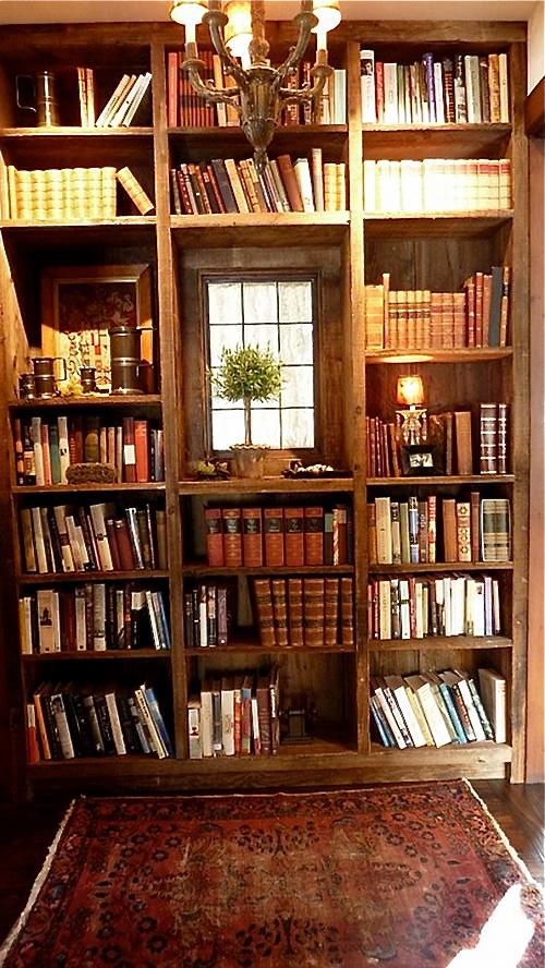 Bookcase in the Sun Valley home of Slim Paley