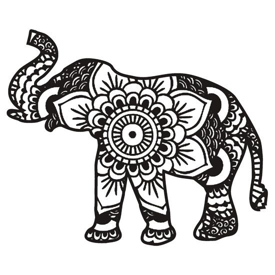 mandala elephant coloring pages easy - photo#1