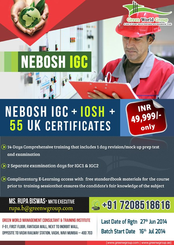 Green World Group Excited Offers For Nebosh Course In Mumbai At 49999 INR Only