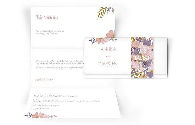"""Liebevoll gestaltete Blumen bilden den Auftakt zum glücklichsten Tag Ihres Lebens: unsere zauberhafte Hochzeitseinladung """"Field Of Flowers""""."""