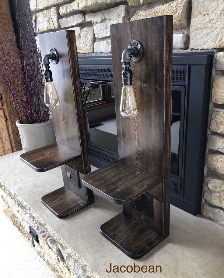 Floating Nightstand With Light and Outlet in 2020 Rustic