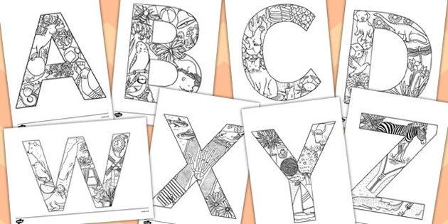 Beautiful Uppercase Alphabet Themed Mindfulness Colouring Sheets from Twinkl!!