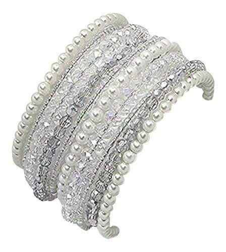 Ivory Simulated Pearl Crystal Glass Seed bead Multilayer Elasticated Women's Cuff Bracelet 40mm in Width 925e http://www.amazon.co.uk/dp/B019AHO97S/ref=cm_sw_r_pi_dp_wxx7wb0QH8XNZ