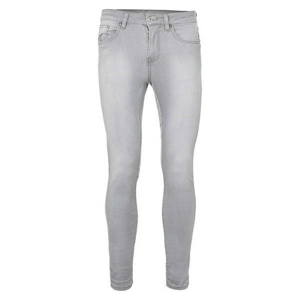 TOPMAN Bleach Wash Grey Super Spray On Skinny Jeans ❤ liked on Polyvore featuring men's fashion, men's clothing, men's jeans, mens super skinny jeans, mens stretch denim jeans, mens skinny jeans, mens skinny fit jeans and mens zipper jeans
