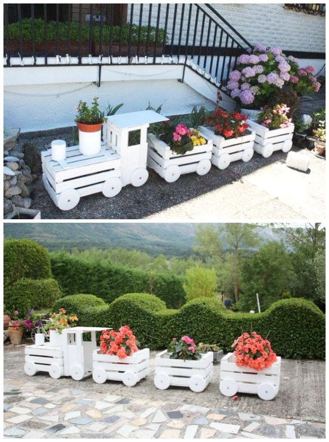 DIY Train Planters from Wood Crate Picture Instructions #Gardening, #Art, #Woodw…