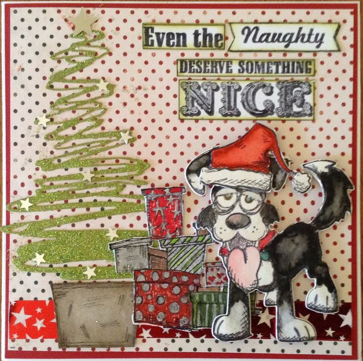 Designed and made by Gail Parker using Tim Holtz Crazy Dogs dies and stamps and Festive Scribbles Thinlits dies. Coloring has been done with Distress pens. The presents stamp is from Stampotique.