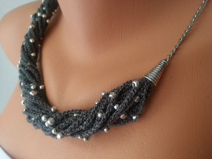 Grey Hand-crochet Rope Necklace with silvery glass beads, , Necklace, Crochet Necklace, Feminine, Trendy, Infinity, prom, wedding #necklace #wedding