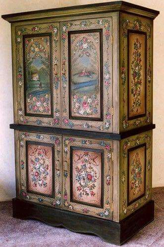 Painted panels and borders in  flowery, country motif.