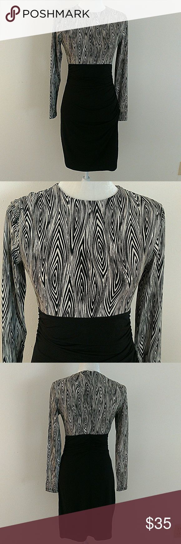 """Slinky Sexy Black & White Dress NWT. 32"""" chest, 38"""" long. Built-in black mesh slip, stretch, patterned top. Bodycon silhouette, ruched detail. Smoke-free home. Shape FX Dresses Long Sleeve"""