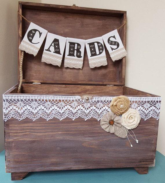 Mariage rustique carte boîte porte-cartes avec toile de jute et dentelle cartes bannière mariage rustique cadeau coffre en bois fleurs Shabby Chic signe de mariage
