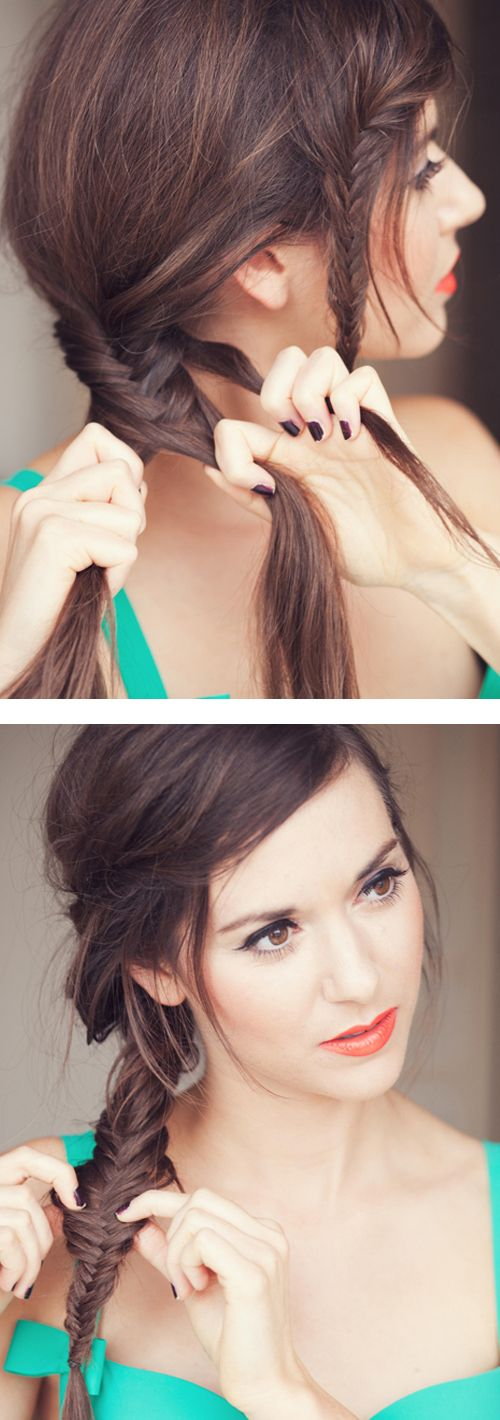 Love the little fishbraid bangs. I hope my hair is long enough to do this!